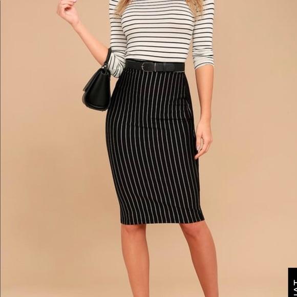d9ccdf7d2 Lulu's Skirts | Line Up Black Pinstripe Pencil Skirt | Poshmark